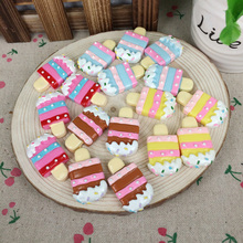 Mixed 4 Colors Kawaii Flatback DIY Miniature Food Resin Cabochons Flat Back Scrapbooking Embellishment Decoration Crafts:21*36mm(China)
