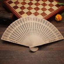 20cm Crafts Bamboo Wooden Fan Folding Hollow Carved Hand Fan Flower Wedding Bridal Party Gift Fragrant Home Decoration