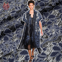 American style denim floral clipped jacquard lace fabric for dress black black hollow lace tissu cloth tecidos stoffen SP4525(China)