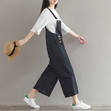 Women 2018 Leisure Loose Plus Size Denim Jumpsuits Overalls collapse Pants Ankle-length Strap Denim Trousers(China)