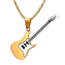 Men Musical Jewelry Stainless Based Rock HipHop Electric Guitar Bass Pendant Necklace for Women Unisex Jewellery kolye 24inch