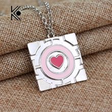 Free Shipping New Popular Pink Heart Chain Pendant Necklace The Portal Necklace Companion Cube Necklace Hot Sale Wholesale