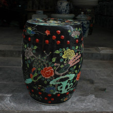 Black Crane Jingdezhen porcelain Garden stool ceramic stool for dressing table drum chinese porcelain chinese garden stools