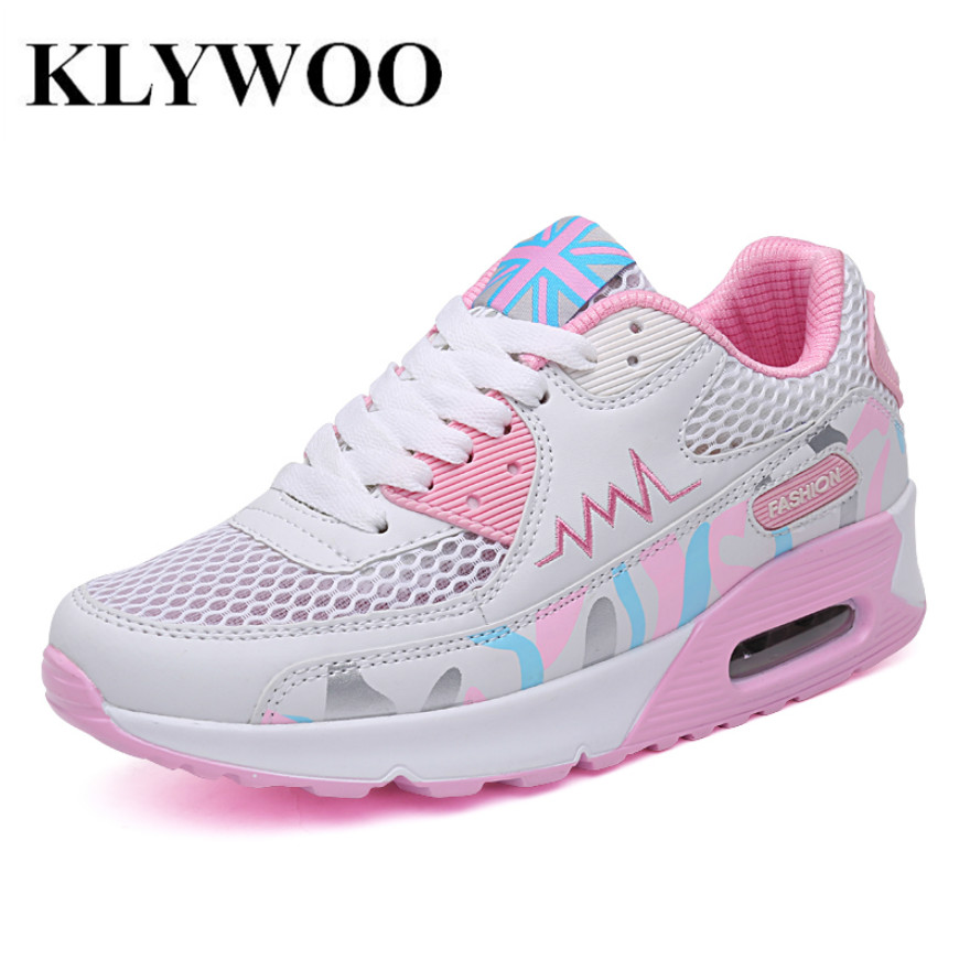 KLYWOO Fashion Women Casual Shoes Flats Trainers Air Cushion Breathable Mesh Woman Shoes Casual Outdoor Walking Zapatillas Mujer<br><br>Aliexpress
