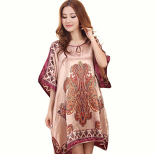 2016 Sexy Silk Nightgown Dress Women Short-sleeves Satin Sleepwear Female Coffee Paisley Robe Plus Size Summer Lounge Nightwear(China)