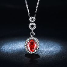 2017  fashion ruby jewelry women Pendant AAA zirconia 18 k white gold plated  Pendants Cz diamond Necklace for women