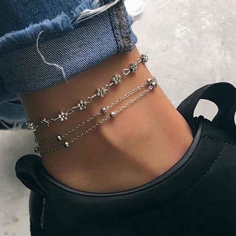 2pcs/Set Boho Personality Pendant Sun Flower Beads Beads Chain Double Anklet Bracelet For Woman