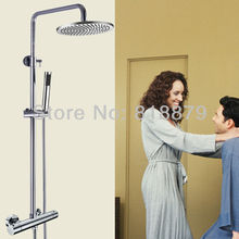 Buy Wall mounted thermostatic shower column bathroom faucet chrome brass rain shower mixer copper faucets control valve torneira for $326.00 in AliExpress store