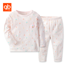 GB 100% Cotton Ice Cream Prints Little Girls' Pajamas Set Long Sleeve Tops Pants Soft Breathable Round Neck Sleepwear for 6M-5Y(China)