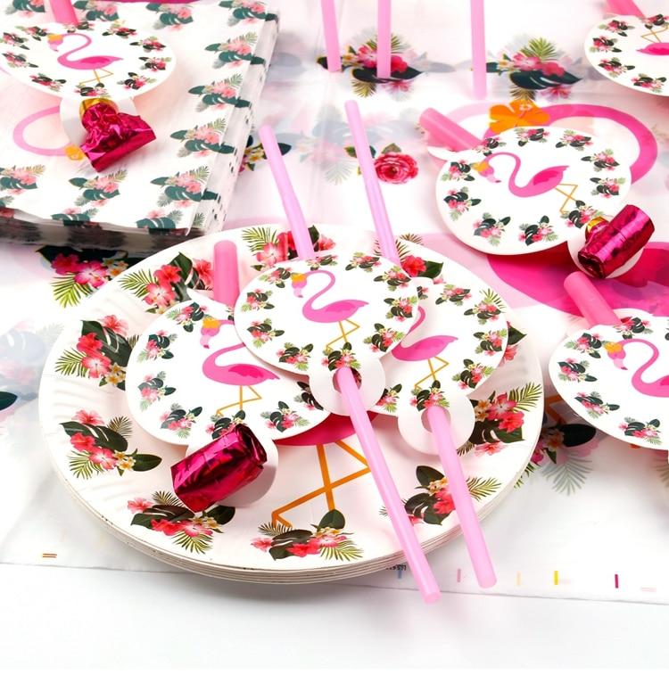 QIFU Flamingo Decoration Tropical Summer Beach Birthday Party Decor Events Luau Flamingo Hawaii Hawaiian Party Supplies Hibiscus 15