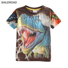 New 3D Print Dinosaur children boys t shirt children baby boys t shirts for 3-8Years old cotton dinosaur boys tops tees shirts