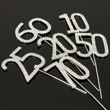 Hot Selling Cake Topper Crystal Rhinestone Numbers Monogram Wedding Anniversary Birthday Party Decoration
