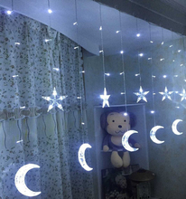138 led moon star fairy string light christmas 2.5m led icicle curtain fairy light garland for home party birthday decoration