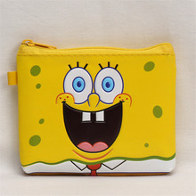 New PU Leather Mini Money Bags Cartoon SpongeBob 3D Embossed Children Coin Purse 12*10cm Square Zero Wallet for Girls Boys Gifts(China)