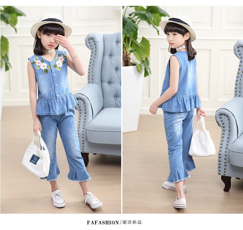 3-12 y summer girls clothes set denim outfits fashion sets for girl sleeveless embroidery top flared trousers children\`s sets (4)