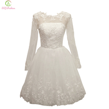 SSYFashion 2017 White Lace Cocktail Dress Banquet Elegant Transparent Long Sleeve Embroidery A-line Knee-length Short Party Gown(China)
