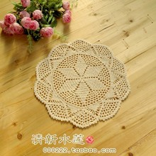 Free shipping 5pic/lot cotton crochet lace doilies for home decor lace felt as innovative item for home potholder with flower(China)