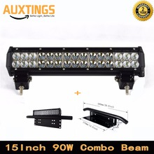FREE SHIPPING 15inch 90W COMBO Beam battery powered led off road light bar 12V 90w led work light  bar for Truck Car ATV SUV 4X4