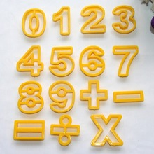 15Pcs/Lot Numbers Calculated Cake Fondant Tools Yellow Hollow Shaped Inside Form For Cake Drawing Images