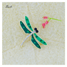 Baili brand 3 color little insect dragonfly brooch Metal inlay rhinestone enamel brooch Can be used as pendant B5107