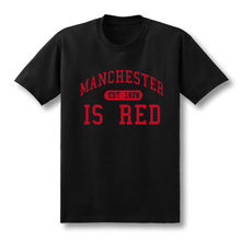 2017 New United Kingdom Red Letter Print T Shirt Men Cotton O-Neck Manchester Tee Shirts Camisa Masculina tee Size XS-XXL