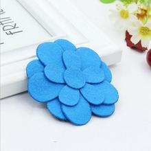 150pcs/lot Blue flower knit headband wool felt and fabric on sale(China)