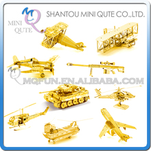 Mini Qute Piece Fun 3D Golden vehicle military Tiger tank helicopter plane Metal Puzzle adult assemble DIY model educational toy