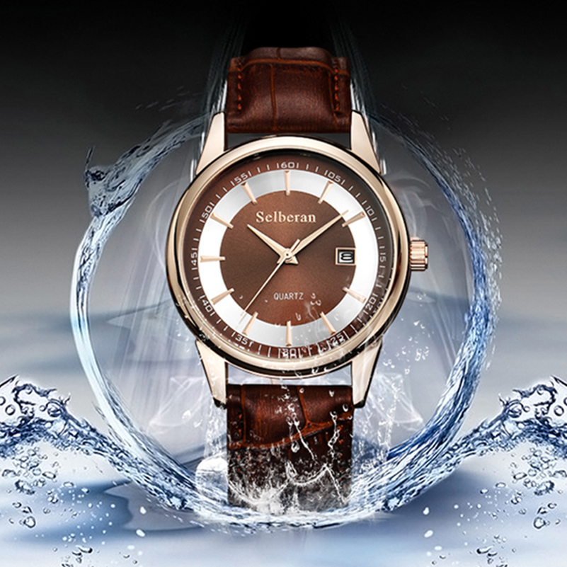 50M Waterproof 2017 Mens Luxury Watches Genuine Leather Wristwatches Quartz Watch Men Relogio Masculino Black/Coffee<br><br>Aliexpress