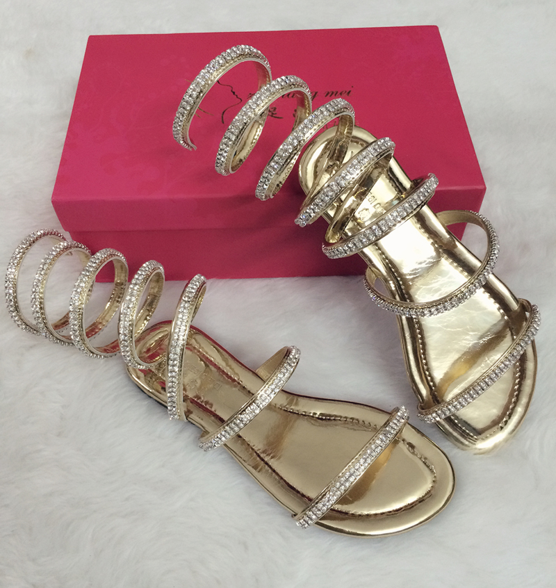 Summer woman sandals Crystal Sexy Women Gladiator Sandal women Boots Snake Flat Shoes Roman shoes plus size 3.5-15 Free shipping<br>