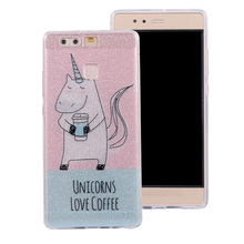 "IMD+TPU Soft Cell Phone Skins Cases For Huawei P9 EVA-L09 (Single SIM) EVA-L19 EVA-L29 (Dual SIM) 5.2"" Case Glitter Powder Cover"