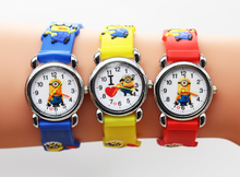 1pcs/lot Wholesale NEW Cartoon 3D despicable me 2 minion Wrist watch kids children cartoon quartz watches christmas gift
