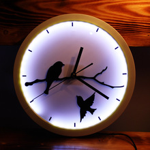 The world's first home decoration fashion wall clock with led lights luminous artistic wall clocks wall clock mute wall