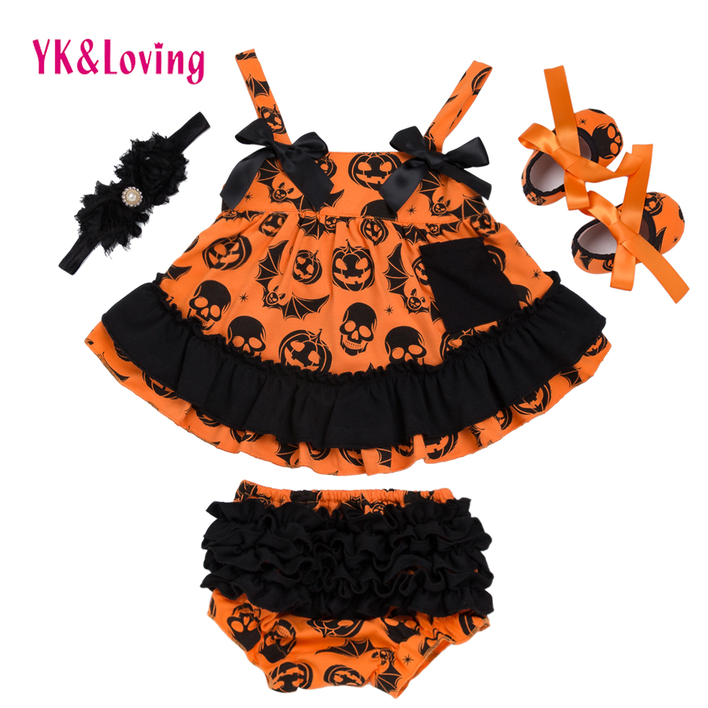 Halloween Summer Style Baby Swing Top Baby Girls Clothing Set Infant Ruffle Outfits Bloomer Headband Newborn Girl Clothes Sets(China)