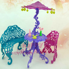 1 Set Fashion Doll Living Furniture Couch Table Sun Umbrella Chairs Accessories For Monster High For Barbie Doll Baby Best gift(China)