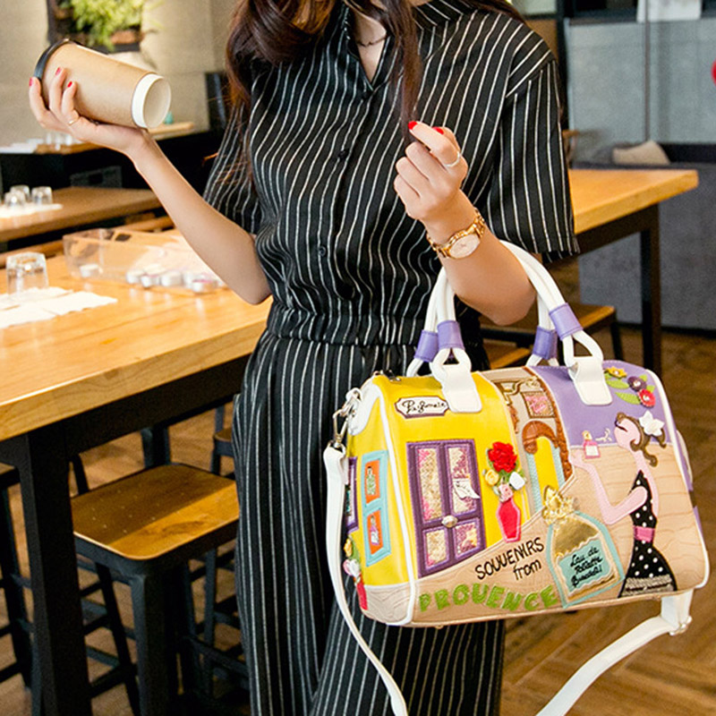 THINKTHENDO Women Girl Solid Tote Cartoon Embroidery Messenger Travel Luxury Handbags Women Bags Designer<br>