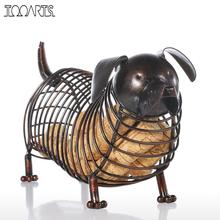 Tooarts Metal Animal Figurines Dachshund Wine Cork Container Modern Artificial Iron Craft Home Decoration Accessories Gift(China)