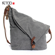 AETOO Men and women package canvas bag wholesale new mad horse leather shoulder Messenger bag on behalf of a retro hand bag(China)
