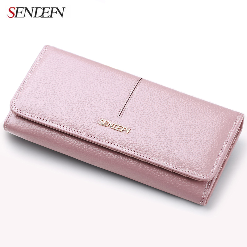 SENDEFN Fashion Genuine Leather Wallet Women Long Slim Lady Casual Day Clutch Card Holder Phone Pocket Wallet Female Purse(China)
