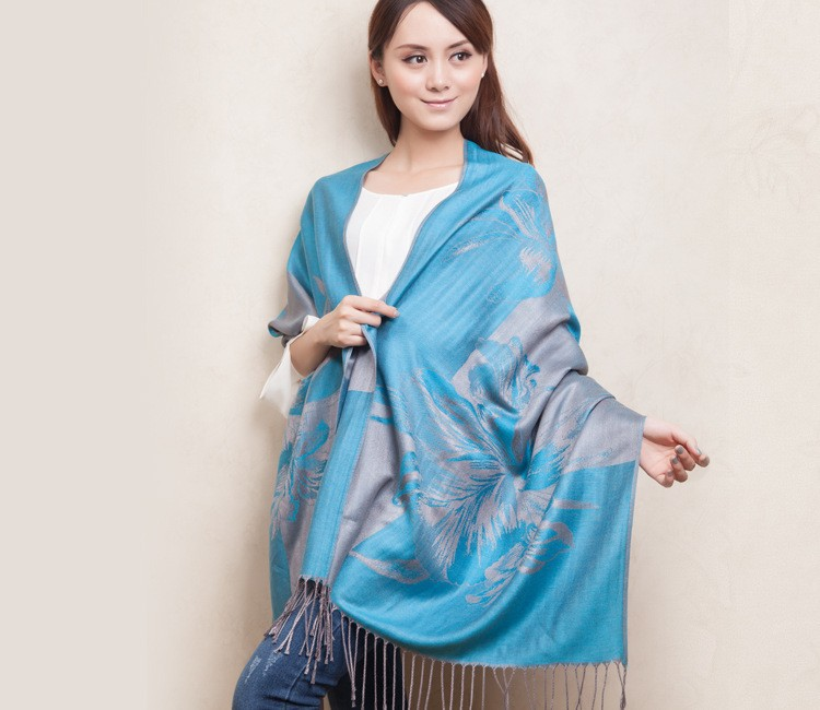 Light Blue Fashion style Women's Pashmina Artificial Cashmere Blend Shawl Scraf Scarves wrap 613154-1(China)