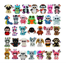 Ty Beanie Boos Big Eyes Elephant Monkey Rabbit Fox Owl Unicorn Cat Ladybug Cute Animal Plush Toys Doll For Girl Gifts(China)
