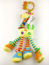 Happy Monkey 46cm Baby Rattle Teether Giraffe BB Sound Stuffed Plush Doll Sound Car Bed hanging Toy Toys Bell Ring Infant Puppet