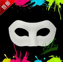 White Half Face Mask Halloween blank paper ball Hand painted mask DIY pulp Hip-Hop Hand-painted street dancing 100pcs/lot(China)