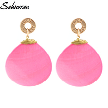 Sehuoran New Arrival Luxury Big Long Fresh Shell Pendant Drop Earrings Brincos Bridal Women Wedding Party Jewelry(China)