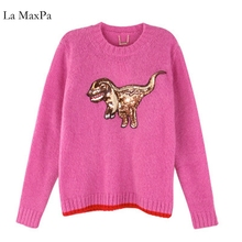 Korea Sweater women sweaters and pullovers pull femme hive pullover women poncho jumper dinosaur(China)