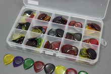 100pcs AP-100J Durable Clear Small Large Size Jazz Music Guitar Picks Plectrum 1.0/2.0/3.0 mm + 15 grid case