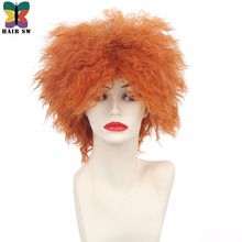 HAIR SW Short Curly Fluffy Synthetic Cosplay Mad Hatter Wig Orange High Temperature Fiber Movie Wigs For Halloween Party City(China)