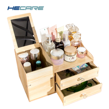 2017 New Upgrade Cosmetic Storage Box Case Bolt Fixed Wooden Jewelry Makeup Cosmetic Organizer for Storage with Drawers Mirror(China)
