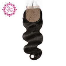 Slove Hair Brazilian Body Wave Silk Base Closure Free Part Remy Human Hair Closure Bleached Knots With Baby Hair Free Shipping