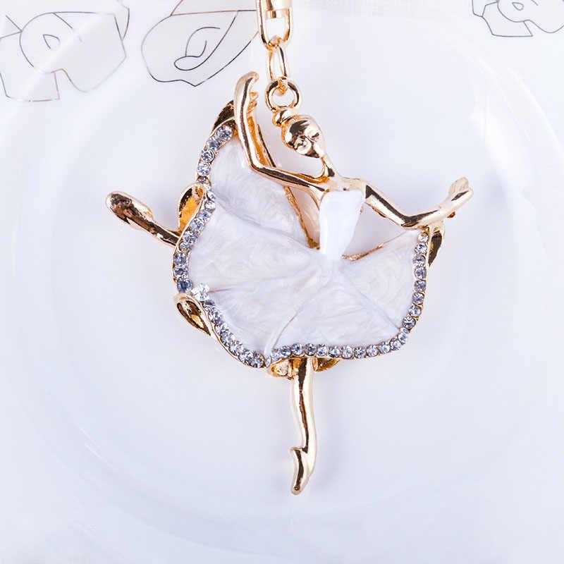 Fashion ballerina crystal keychain trinket rhinestone car key chain bag  charm women s key ring girls keys 430d12c6fa