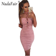 Buy Nadafair 2018 New Sleeveless Backless Slash Neck Halter Summer Dress Women Sexy Mini Criss Cross Lace Bodycon Party Dress
